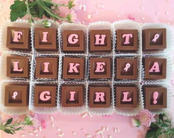 Pink Ribbon Cancer Gift - Fight Cancer Chocolates