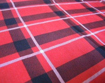 Vintage 1980s red plaid polyester nice drape 60 inches wide BTY