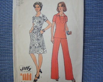 vintage 1970s simplicity sewing pattern 6384 misses jiffy dress or top and pants size 14