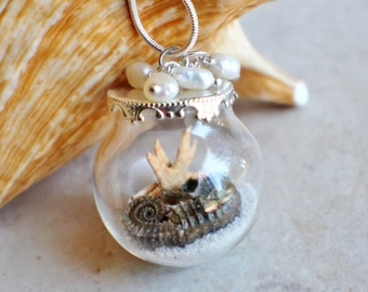 Glass orb necklace contains sand, shells, seahorse and starfish with silver accents