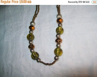 50% OFF Green amber beaded necklace, green bead necklace , jewelry necklace, bead necklace