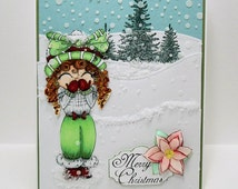 Merry Christmas My Besties Paper Handmade Greeting Card With Flower Girl Snow