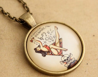 Rockabilly Necklace, Sailor Jerry Necklace, Tattoo Necklace, Pin-up Girl Necklace, Mans Ruin, Punk Necklace, Pendant, Gift for Her, Gothic