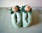 Vintage 1984 Original Cabbage Patch Slippers Rare Green Plush Size 5/6