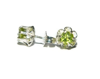 Natural Peridot Earrings, Sterling Silver Earrings, August Birthstone Earrings, Green Earrings, Buttercup Earrings