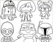 Star Heroes Clip Art Set -Personal and Limited Commercial- Robot, Bounty Hunter Blackline clipart NO WEAPONS