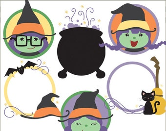 Halloween Clip Art Witch Circles -Personal and Limited Commercial Use- Witches Clipart