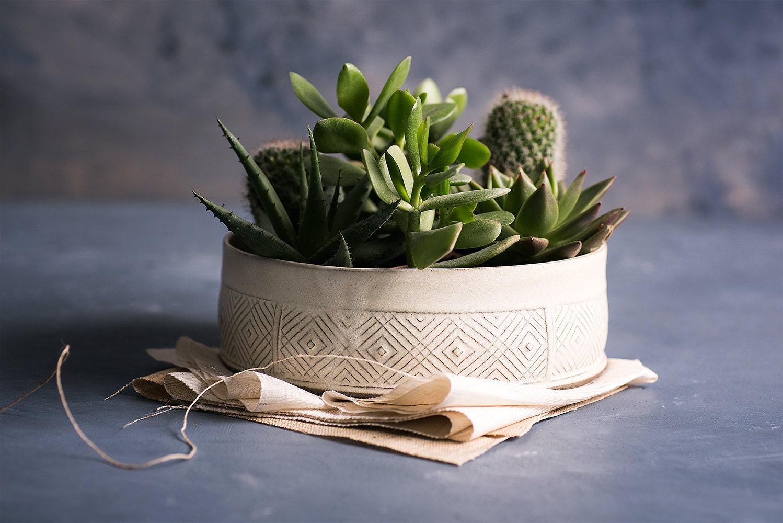 White Ceramic Planter Large Succulent Planter Pot Modern