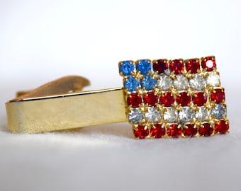 Vintage tie clip...American flag tie clip...rhinestone tie clip...patriot...patriotic tie clip...price for one.