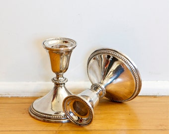 Two vintage silver plate candlesticks…silver plate candleholders…