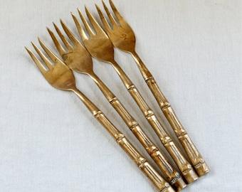 Vintage bronze appetizer forks…bronze pickle forks...bamboo design.