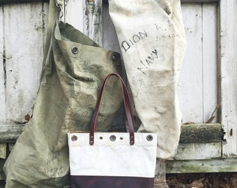 CUSTOM Tote made out of YOUR Military Duffle or Vintage Textile |  Leather Tote | Canvas Tote