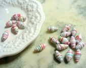 Red, White, Blue and Green Paper Beads, Paper Bead, Recycled Paper, Rolled Paper Bead, Supplies, Paper Bead Jewelry, Bicone