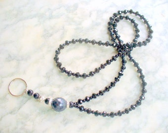 Black Sparkle Crystal Lanyard Necklace, Black Rondell Crystals Lanyard, Nametag, Keychain Holder, Id Tag, Badge Holder, Beaded Necklace