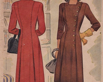 "RARE 1940s Misses' Dress Vintage Sewing Pattern - McCall 5438 - Size 14, Bust 32"", MISSING Fac"
