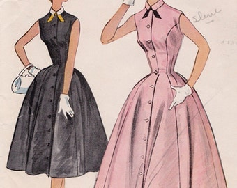50s Princess Seam Full Skirt Dress Vintage Sewing Pattern - McCall's 9704 - Size 12, Bust 30, Missing Fac