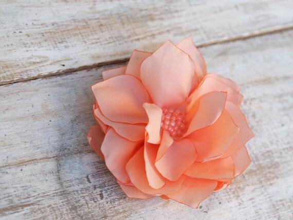 Prom Hair Flower, Wedding Peach Hair Flower, Salmon Hair Flower, Peach Bridal Hair Clip, Prom Peach Headpiece