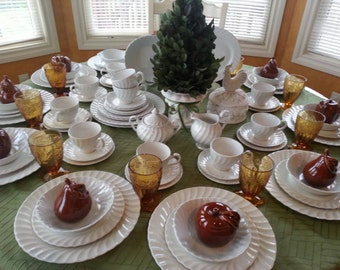Magnificent Service for 12 Johnson Brothers Regency White 76 pieces Vintage with Newer Back Stamp Larger Dinner Plate Size