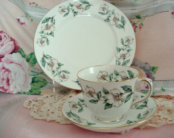 Vintage Crown Staffordshire China Tea Trio Teacup Saucer Snack Plate White Dogwood Snack Set