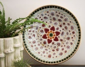 Mid century gold and tile mosaic bowl with pink flower design vintage boho decor