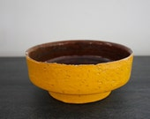Mustard yellow and brown ceramic pot made in germany vintage pottery