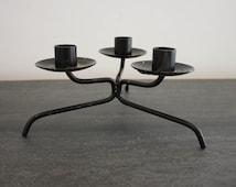 Black metal candelabra table centerpiece candle holder mid century modern vintage boho decor holiday decor christmas