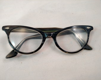 Plastic Cat's Eye Glasses, Unsigned, Stripes on Front and Metal Decor on Corners