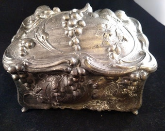 Antique Jenning Brothers Jewelry Casket, Turn of the Century, Shows some wear