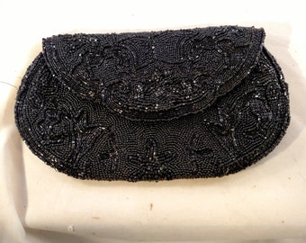 Jorelle Black Beaded Evening Clutch Bag, Made in Belgium