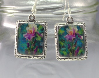 Iris Flower Earrings Jewelry Silver 3D Dimensional Picture Purple  White Pink Green Square