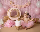 PINK & GOLD First Birthday BANNER / Princess banner / Cake smash banner / Princess baby shower / Cinderella birthday banner / Princess crown