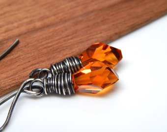 Swarovski crystal topaz earrings, amber copper fall, wire wrapped dainty crystals, sterling silver, oxidized black