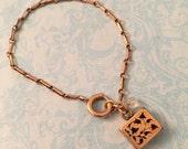 Antique Victorian Charm Bracelet, Black Enamel and Aquamarine, Antique Assemblage, Gift for Her