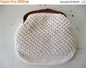 ON SALE vintage. CLUTCH. purse. White. plastic. Crochet. 1960s.
