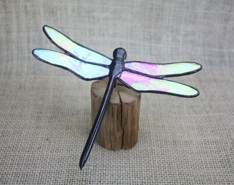 Iridescent Dragonfly Stained Glass Sculpture on Wood Base
