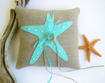 Beach Wedding Ring Bearer Pillow, Starfish Wedding Aqua Ring Pillow, Ring Bearer Starfish, Destination Wedding,  Beach Decor, Beach Theme