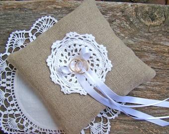 Rustic Ring Bearer Pillow, Wedding Ring Cushion, Rustic Ring Bearer, Linen Burlap Ring Holder, White Crochet Doily Pillow, Country Farm Barn