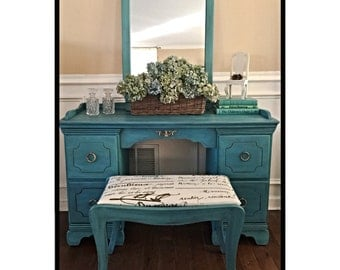 SOLD   Vintage Wood Vanity Painted In Annie Sloan Chalk Paint Farmhouse French Shabby Chic Pick Up Only