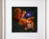Squirrels - Limited Edition Print picture of a Red Squirrels Framed or Unframed