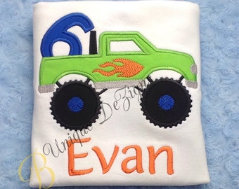 Monster Truck Appliqué, Applique Birthday Shirt with Number T-Shirt or Bodysuit, Boys Birthday Shirt or Bodysuit