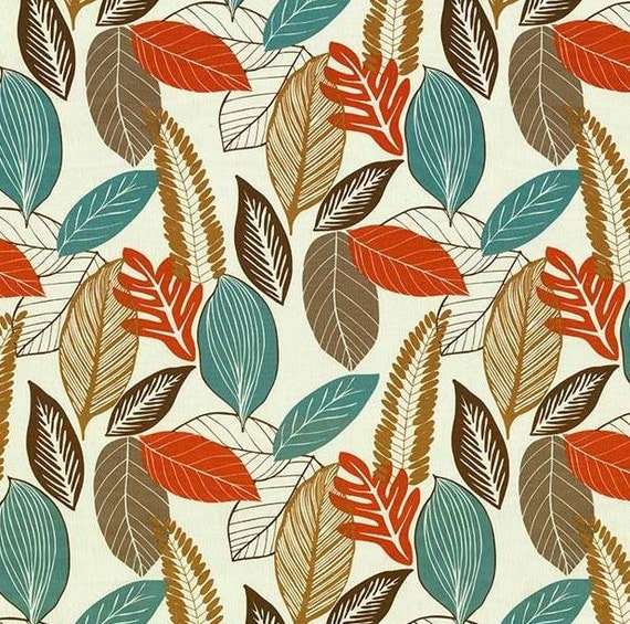 On Sale Orange Turquoise Brown Leaf Upholstery Fabric