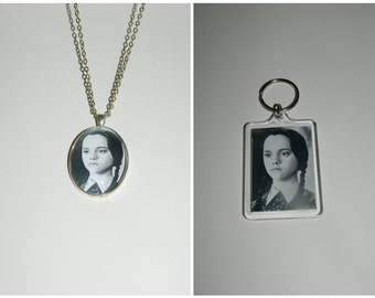 Addams Family Wednesday Addams Glass Pendant Necklace and/ or Keychain