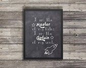 Invictus Quote poster | I am the master of my fate | Chalkboard | Minimalist Poster | Typography