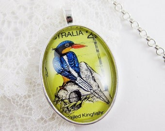 Vibrant Kingfisher Pendant, Vintage Australian Postage Stamp Necklace, Bird Necklace, Pop of Color, Bright Green, Pretty Fashion Statement
