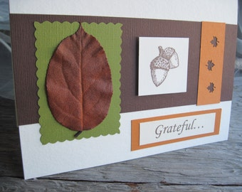 Grateful Preserved Leaf Thanksgiving Blessings or Autumn Card, Acorns & Maple Leaves, Made of Eco-Friendly Bamboo Card Stock, 5 x 7, OOAK