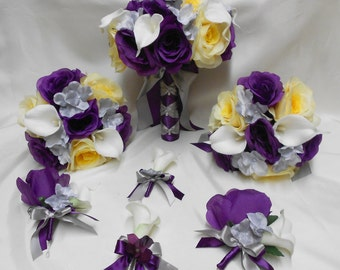 Wedding Silk Flower Bridal Bouquets Package Calla Lily Yellow Purple Eggplant  Plum Rose Silver Bride Boutonnieres Corsages FREE SHIPPING