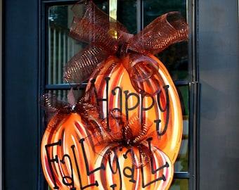 Fall Wreath, Door Hanger: Fall, Pumpkin Door Decoration, Fall Home Decor, Thanksgiving Door Hanger, Door Decoration