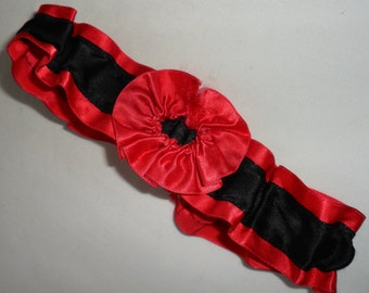 Vintage Red and Black Ruffled Satin Ribbon with Red Lace Elasticated Garter with a Red Rosette Gorgeous!