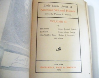 """1903 First Edition """"Little Masterpieces of American Wit and Humor"""" Hardcover Book Edited By Thomas L. Masson"""