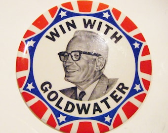 "Scarce 1964 Presidential Campaign Button ""Win With GOLDWATER"" Barry Goldwater Political Pinback Pin 4 Inch Style #B"